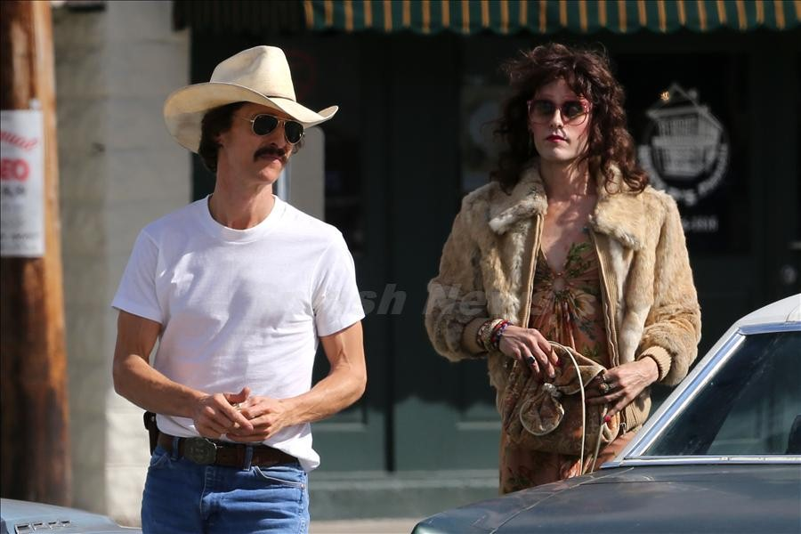EXCLUSIVE: Matthew McConaughey and Jared Leto film scenes together for The Dallas Buyers Club in New Orleans.