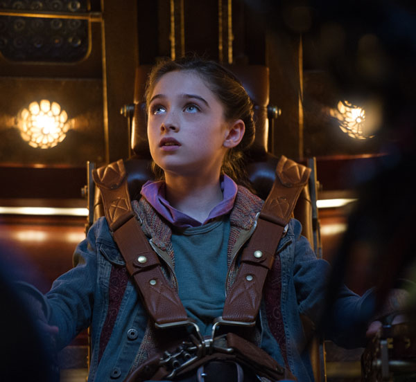Disney's TOMORROWLAND Athena (Raffey Cassidy) Ph: Kimberley French ©Disney 2015