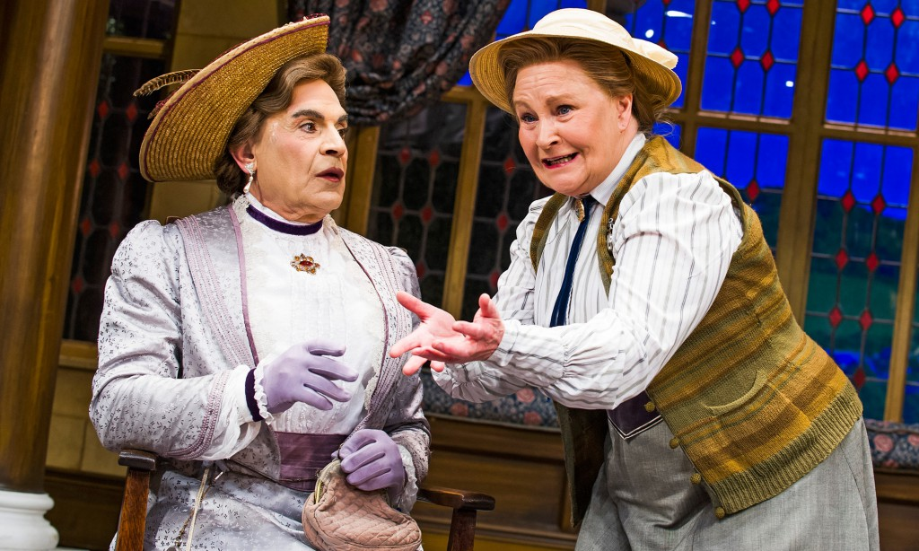 David Suchet (Lady Bracknell) and Michele Dotrice (Miss Prism) in The Importance Of Being Earnest by Oscar Wilde @ Vaudeville Theatre. Directed by Adrian Noble.<br /> (Opening 1-07-15)<br /> ©Tristram Kenton 06/15<br /> (3 Raveley Street, LONDON NW5 2HX TEL 0207 267 5550 Mob 07973 617 355)email: tristram@tristramkenton.com