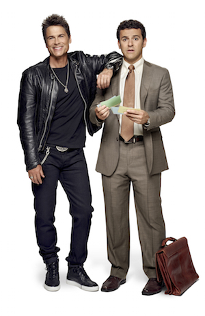 THE GRINDER: Pictured L-R: Rob Lowe and Fred Savage. THE GRINDER premieres Tuesday, Sept. 29 (8:30-9:00 PM ET/PT) on FOX. ©2015 Fox Broadcasting Company. Cr: Brian Bowen Smith/FOX