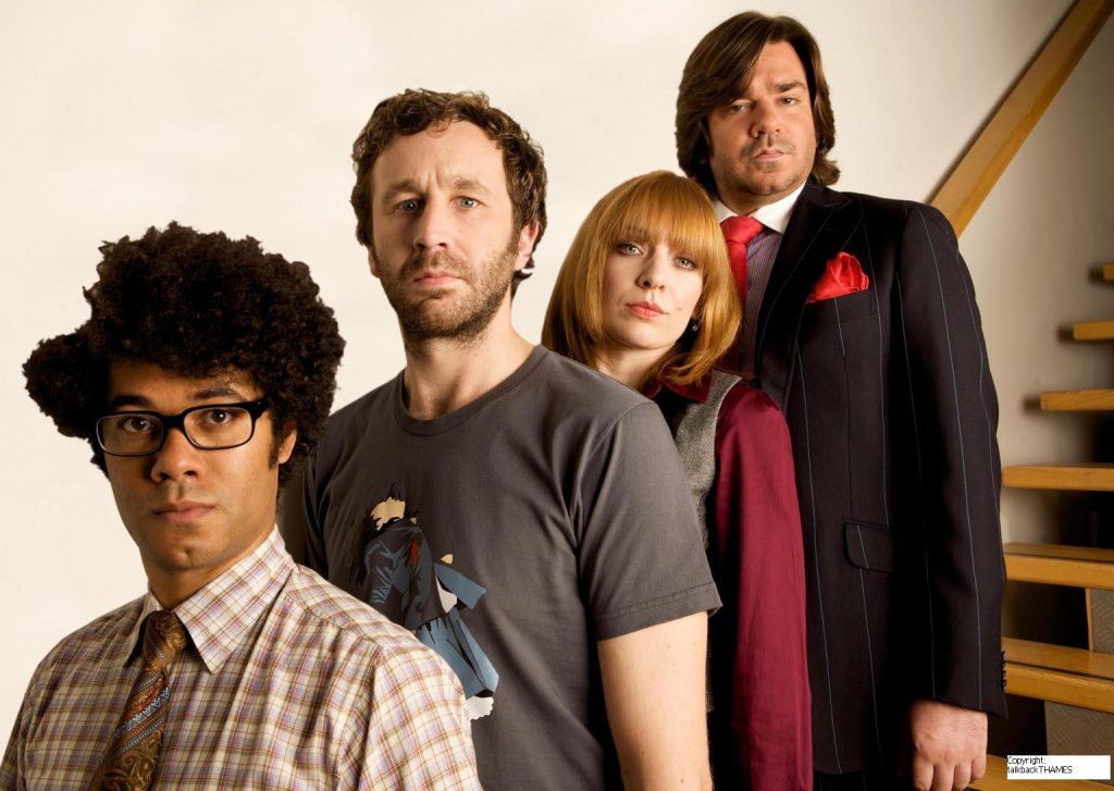 The IT Crowd: Moss, Roy, Jen, and Douglas